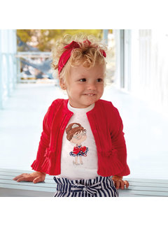 Mayoral 1327 knit cardigan with flounces