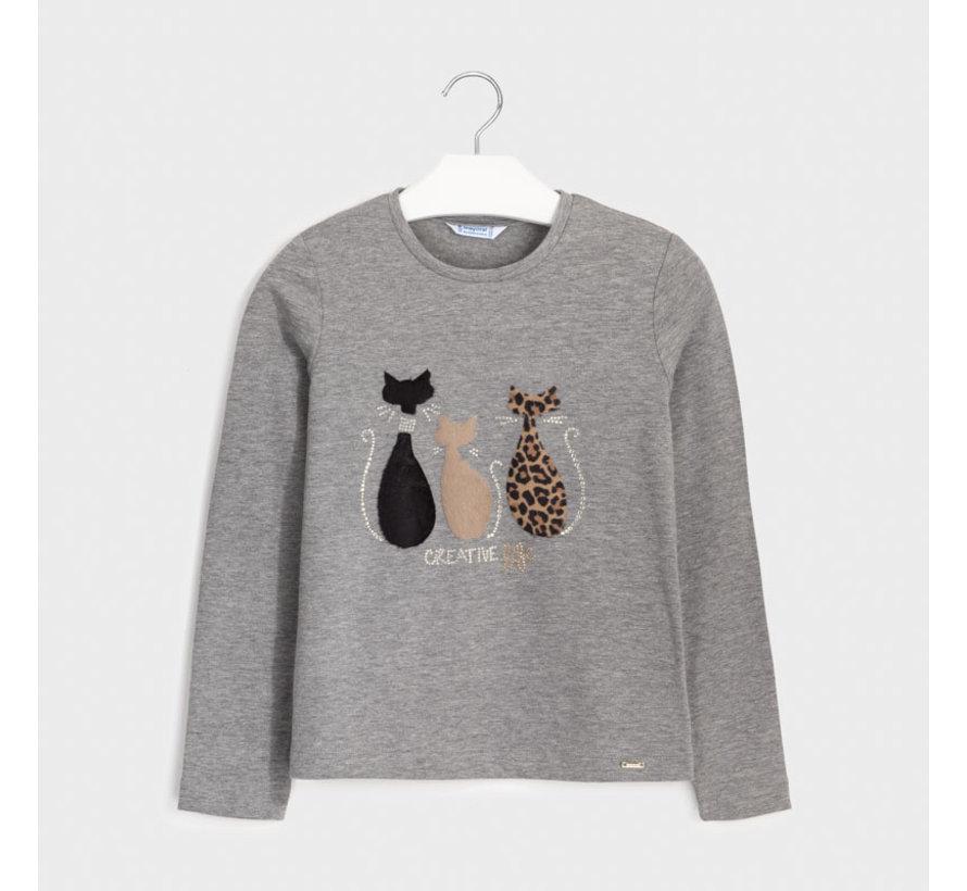 7071 L/s cat t-shirt
