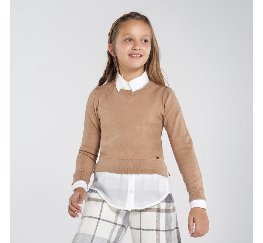 7329 mixed chiffon sweater
