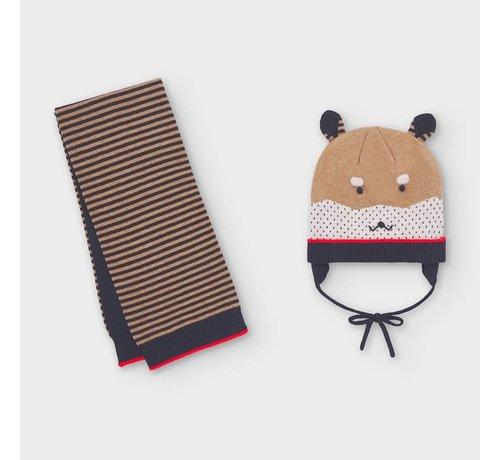 Mayoral 10841 stripes hat-scarf set