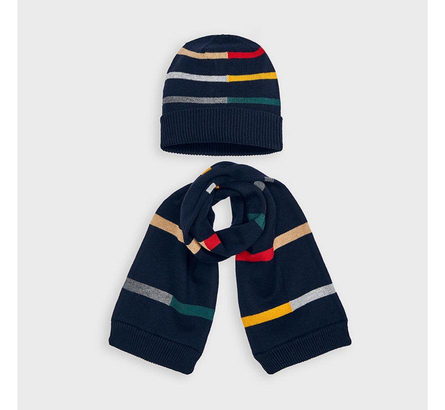 10894 stripes hat-scarf set