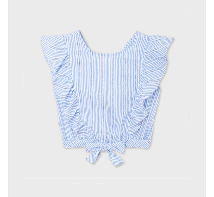 6181 stripes bow loose shirt