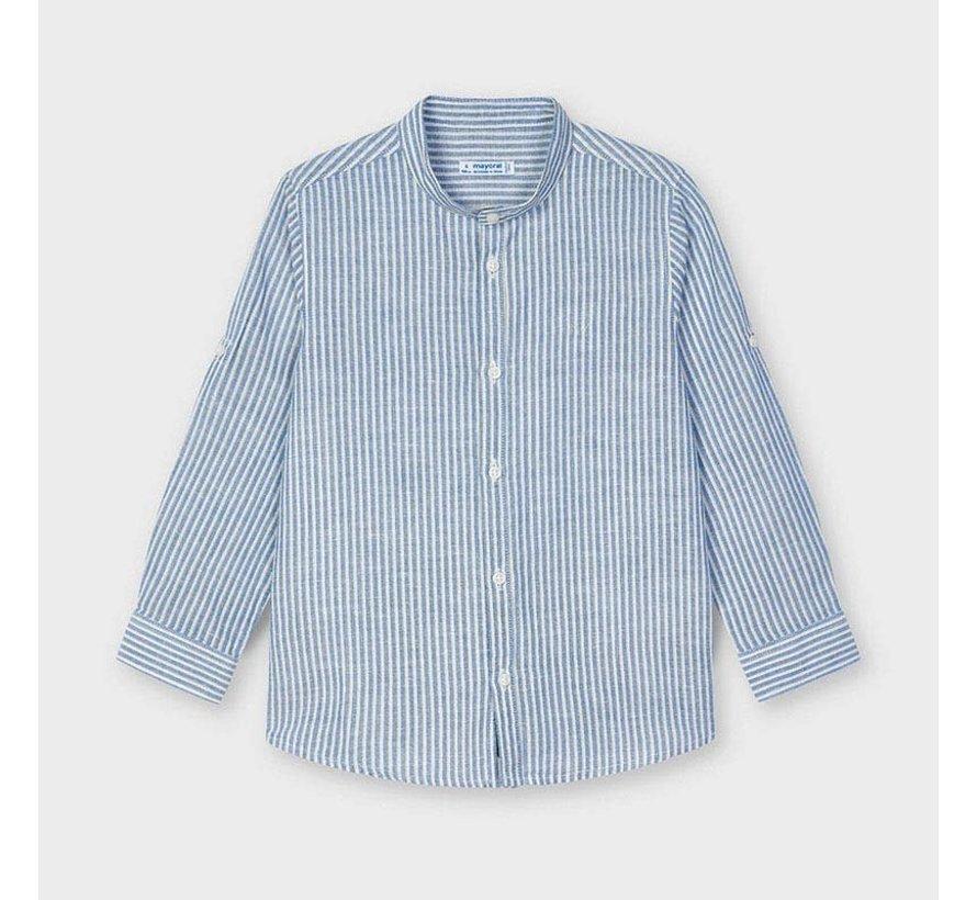 3124 linen striped l/s shirt