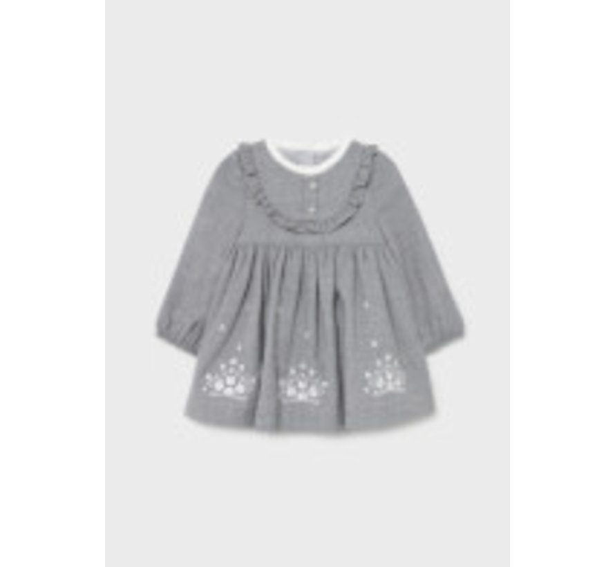 2907 Embroidered flannel dress