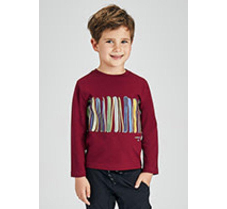 4079 L/s print strip shirt