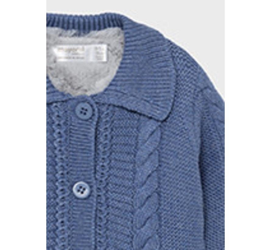 2372 Knit and fur cardigan