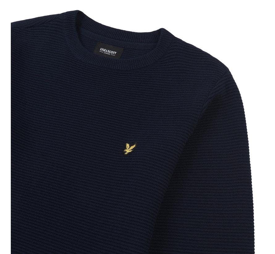 LSC1076 ripple texture crew knit