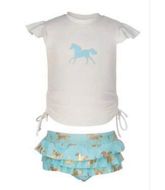 Snapper Rock UV - gold horse ruffle set