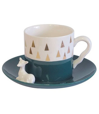 House of Disaster Triangle Deer set Cup and Saucer