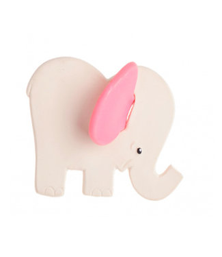 Rubber teething elephant with pink ears