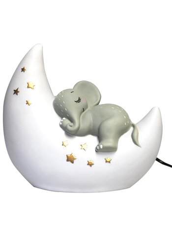 House of Disaster House of Disaster Baby en Kind Nachtlamp Olifant op de Maan - Nachtlampje Kinderen / Kinderkamer - Grijs