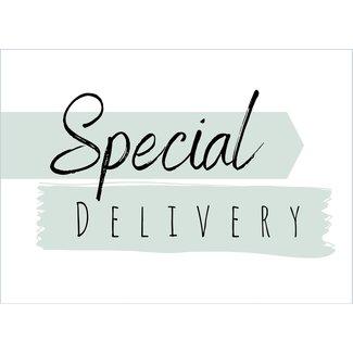 I.B.Z.M. gratis wenskaart Special Delivery groen