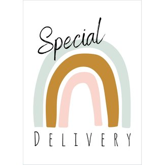 I.B.Z.M. gratis wenskaart Special Delivery regenboog