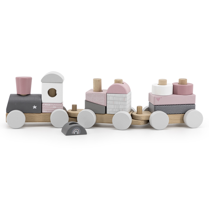 Label Label Houten speeltrein met blokken Roze