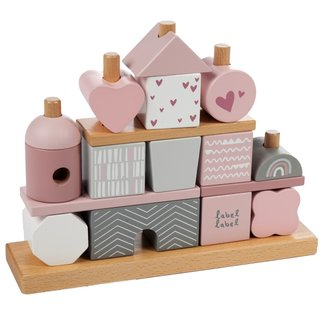 Label Label Wooden stacking blocks Pink