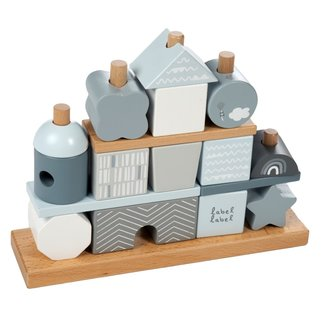 Label Label Wooden stacking blocks Blue
