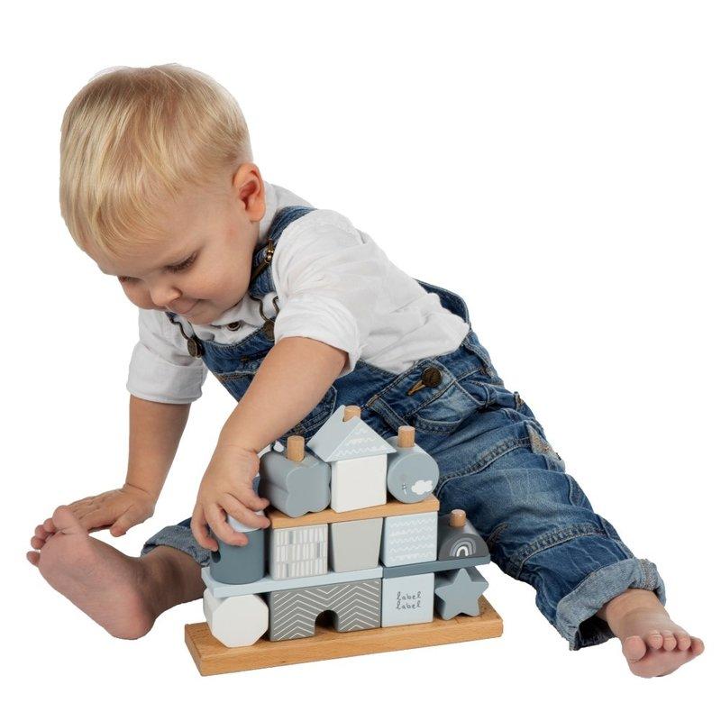Label Label Houten Stapelblokken Stapeltoren Puzzel Speelgoed - Blauw - Baby Peuter- Kraamcadeau Eerste Verjaardag Meisje