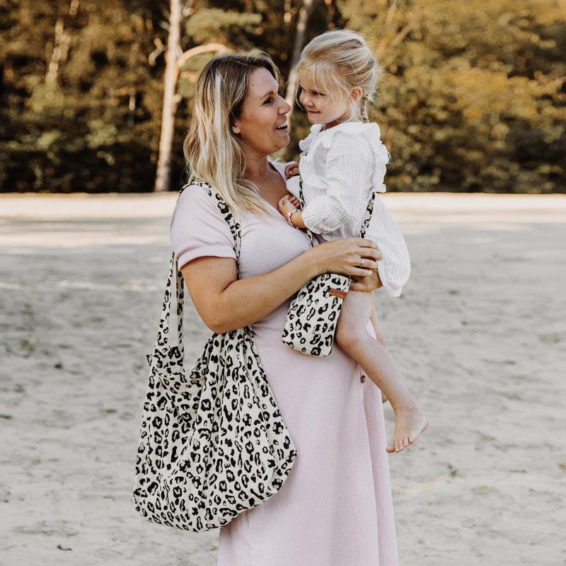 Your Wishes Mommy Tote Bag / Grote Crèmekleurige luiertas Luipaard Panter / Kinderwagen Luiertas /  Verzorgingstas Baby / Boodschappentas