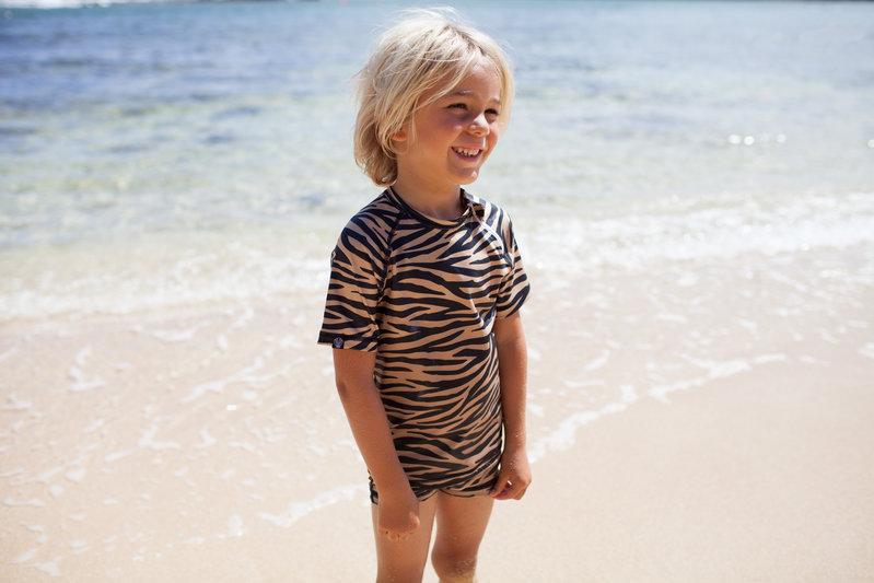 Beach & Bandits UV zwemshirt Tiger Shark Bruin/zwart