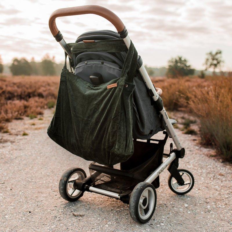 Your Wishes Mommy Tote Bag / Luiertas groen / Kinderwagen Luiertas / Verzorgingstas Baby / Boodschappentas - Ribstof - Green Corduroy