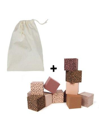 vanPauline Foam Zachte Baby Blokken roze + bewaar zak
