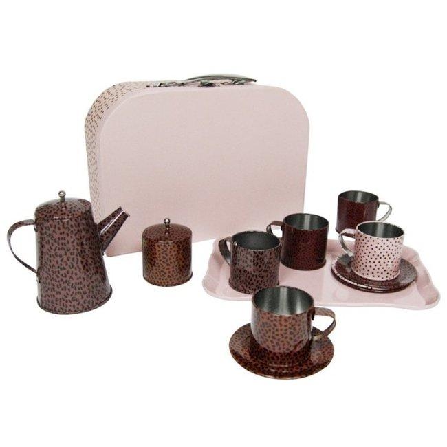 vanPauline kinder serviesje / speelservies / thee set met koffer roze