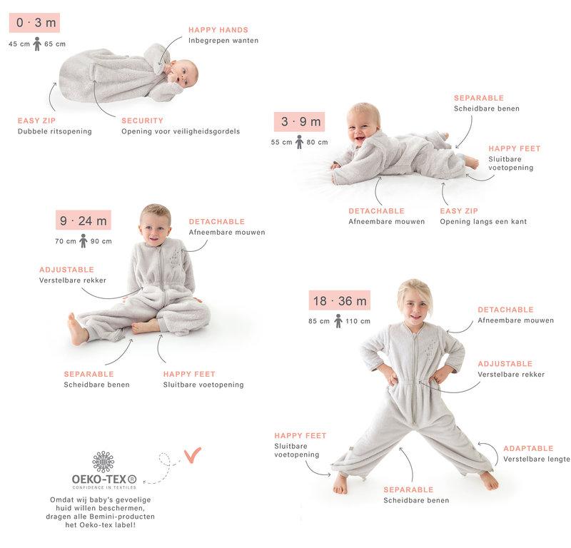 Bemini 18-36 mnd Winterslaapzak Baby / Kind 110 cm - Jongen Meisje - Pady Jersey Honey - Grijs