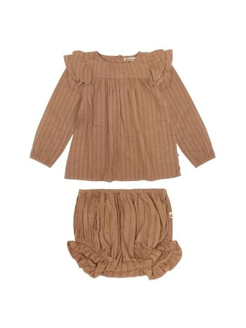 Ammehoela Kids 2-delig set blouse + bloomer olive vintage brown