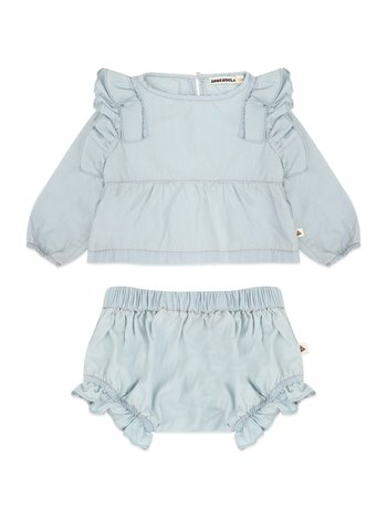 Ammehoela Kids 2-delig set blouse + bloomer olive denim bleached (kleine hoofdopening)