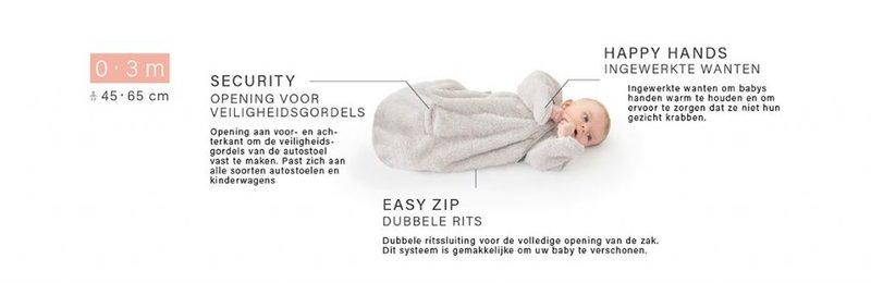 Bemini  0-3 mnd Slaapzak Voorjaar/Lente Zomer Herfst - Baby Newborn - Kilty Antracietgrijs Gemeleerd - Autostoel / Maxi-Cosi Opening - 1.5 tog