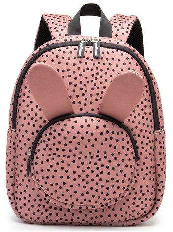 vanPauline kinderrugtas / rugzak / schooltas - meisje - neopreen - bunny / konijn  - warmpink  dots / roze met zwarte stippen - 16 liter / 36 cm