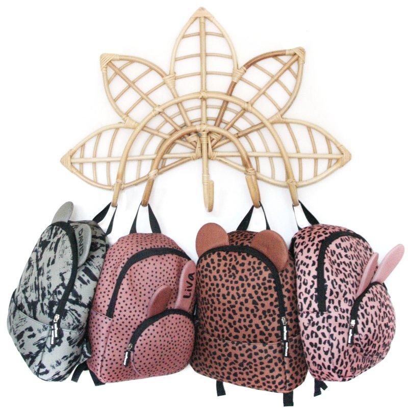 vanPauline kinderrugtas / rugzak / schooltas - meisje - neopreen - bunny / konijn  - pink leopard / roze luipaard panter - 16 liter / 36 cm