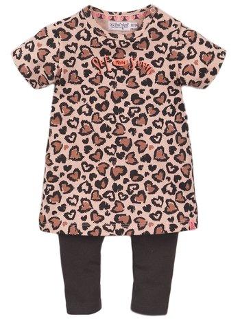Dirkje 2-delig setje jurk met legging roze/grijs