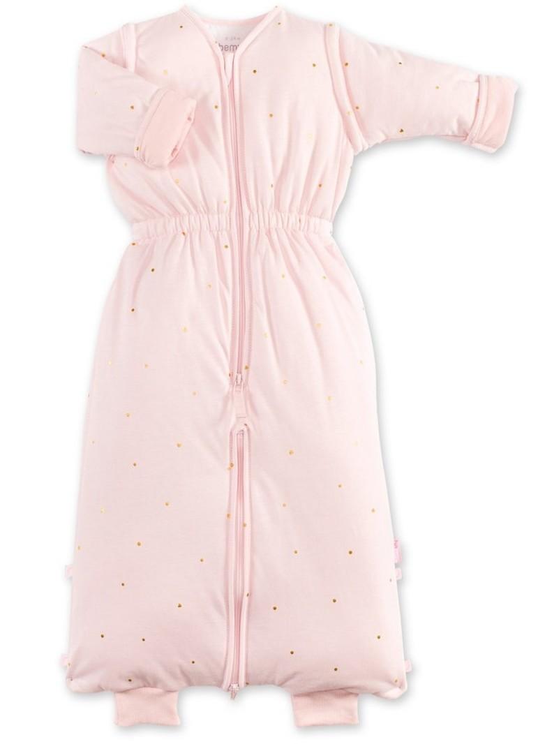 Bemini 18-36 mnd winterslaapzak pady jersey roze met gouden stippen print