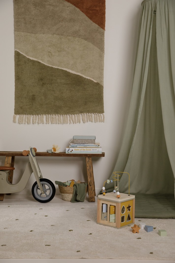 Little Dutch Vloerkleed Horizon olijf groen 130x90cm