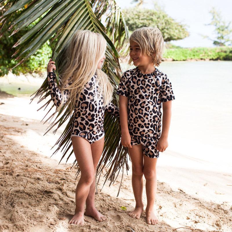 Beach and Bandits UV zwembroek Leopard Shark Ivory