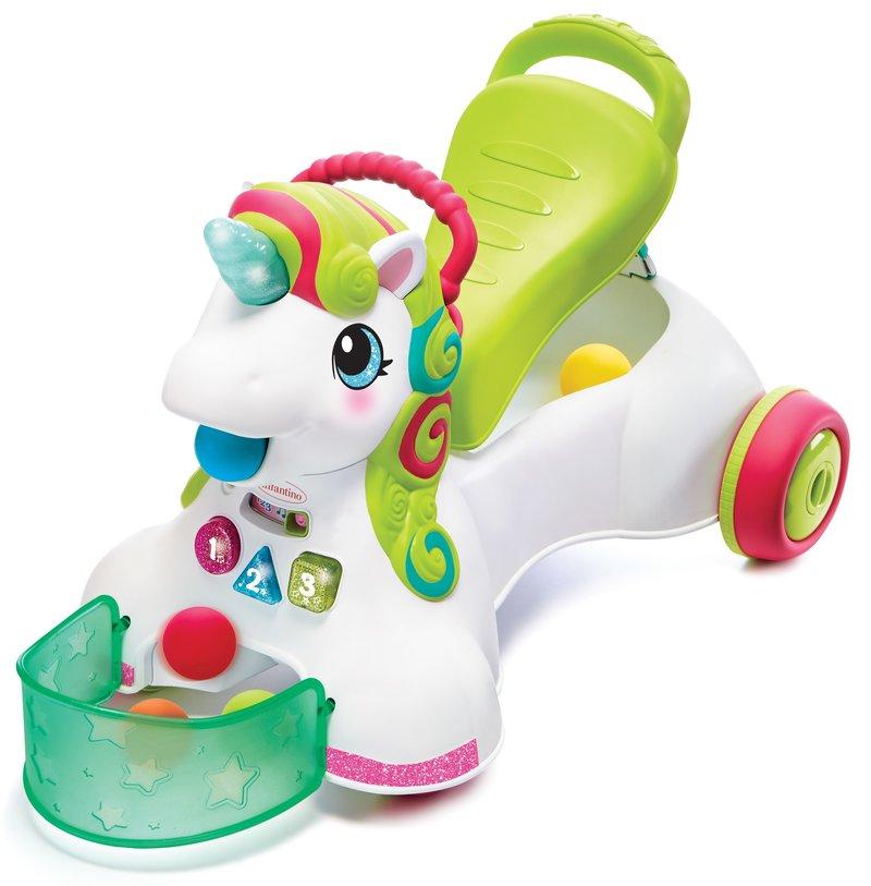 Infantino unicorn / eenhoorn - loopwagen / loopkar / baby walker- activiteiten speelgoed - roze loopauto met duwstang meisje - baby speelgoed - 3 in 1 met licht en geluid - met 5 ballen