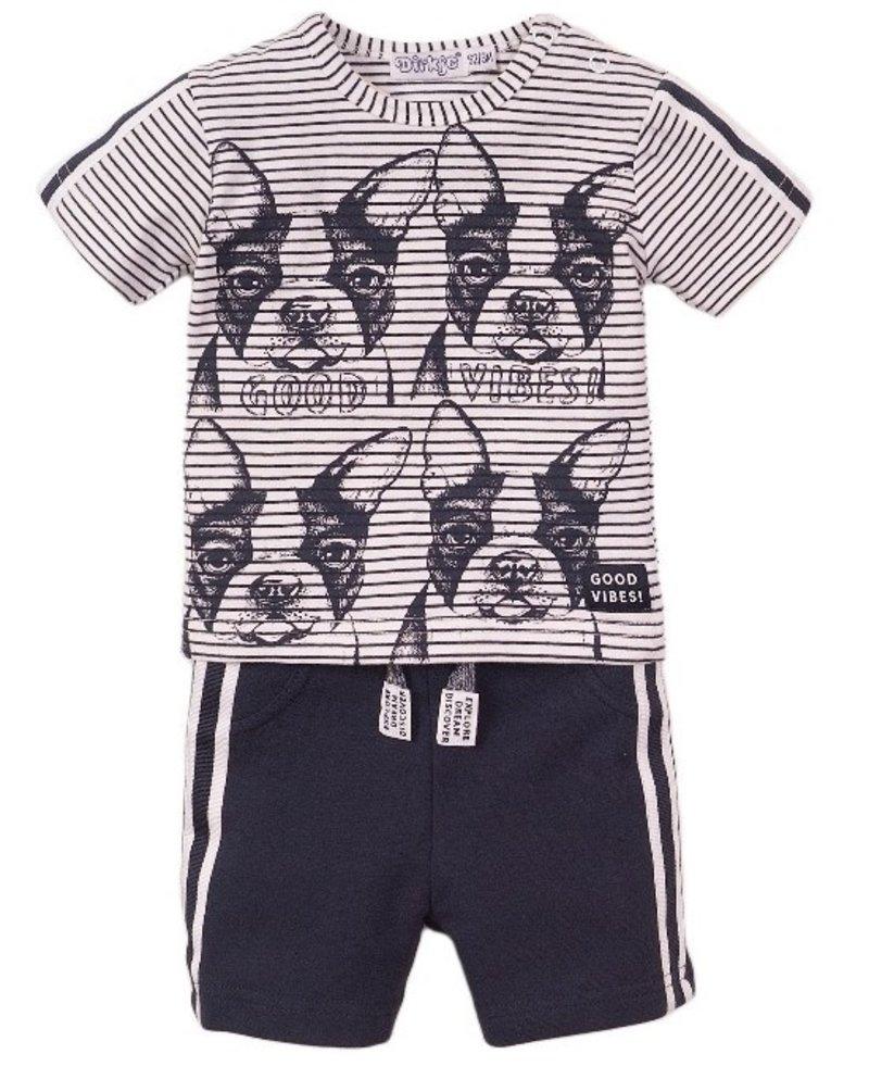 Dirkje jongens baby 2-delige set met short wit blauw