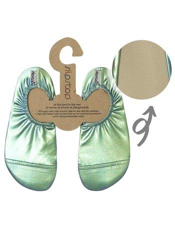 Slipstop Waterschoen Kinderen / Zwemschoenen / Zwemslof / Antislip Schoen / Gymschoen - Starry Green/Groen Metallic