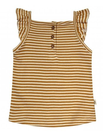 Your Wishes topje Gold Stripes - Ruffle Singlet - Gestreepte Top Meisje - Okergeel
