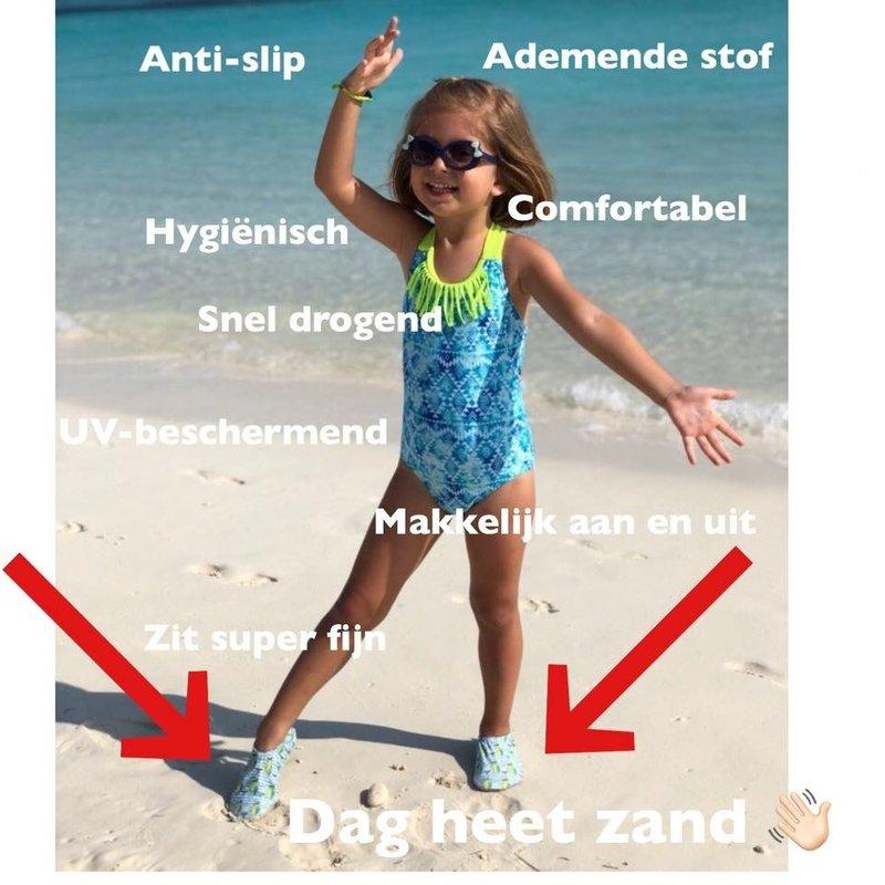 Slipstop Waterschoen Kinderen / Zwemschoen / Zwemslof / Antislip Schoen / Gymschoen - Jongen - Dinosaurus Gekleurd