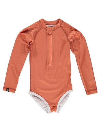 Beach & Bandits UV Zwemkleding Kinderen Meisjes Zwempak Met Lange Mouwen - Clay / Klei Roestbruin