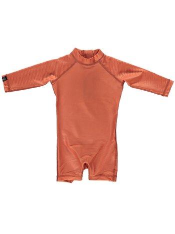 Beach & Bandits UV Baby Zwempakje met Lange Mouwen Jongens Meisjes - Clay Ribbed Roestbruin