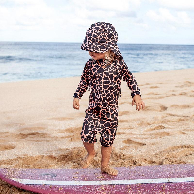 Beach & Bandits UV Zomerhoedje Zonnehoedje - Baby Kind Jongen Meisje - Clay Ribbed Roestbruin - Vanaf 6 maanden tot 1/2 jaar