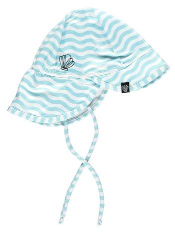 Beach & Bandits UV Zomerhoedje Zonnehoedje - Baby Kind Jongen Meisje - Ocean Child Blauw Gestreept - Vanaf 6 maanden tot 1/2 jaar