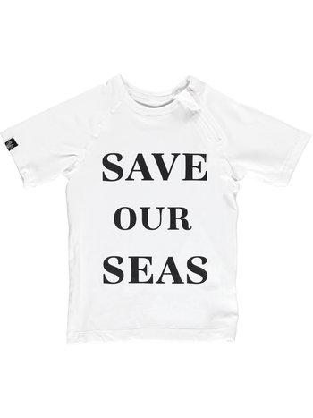 Beach and Bandits UV Zwemshirt Korte Mouw Kinderen Jongens Meisje - Wit Save Our Seas - Plastic Soup Foundation