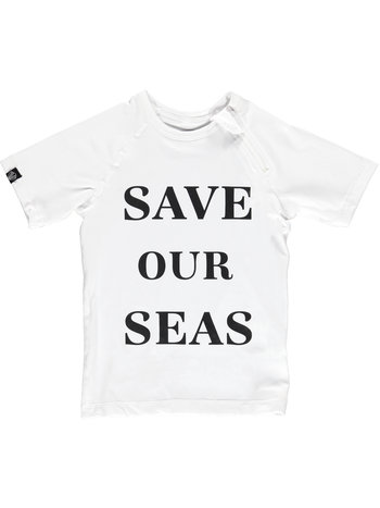 Beach & Bandits UV Zwemshirt Korte Mouw Kinderen Jongens Meisje - Wit Save Our Seas - Plastic Soup Foundation