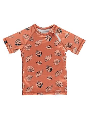 Beach & Bandits UV Zwemshirt Korte Mouw KinderenJongens Meisjes - Shello Tee Schelpenprint Oranje