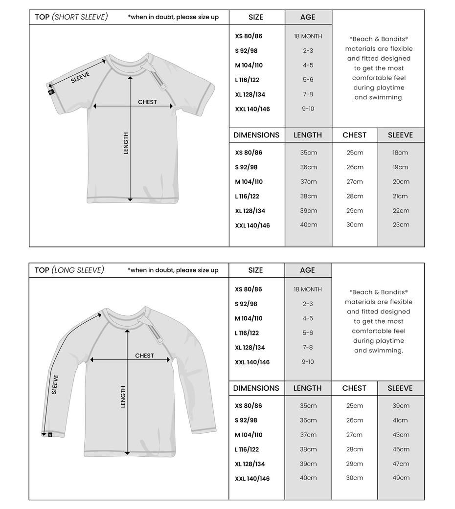 Beach and Bandits maattabel t-shirts en longsleeves