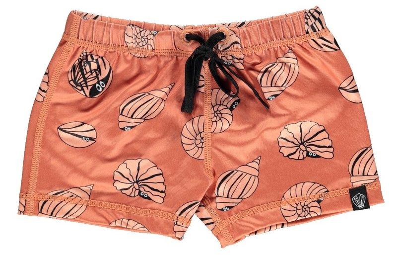 Beach & Bandits UV Strakke Zwembroek Kinderen Jongens - Shello Oranje met Schelpenprint